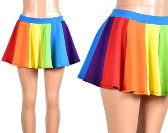 bce980b26655 Rainbow Circle Skirt (Teal Waistband) XS S M L XL 2XL 3XL plus size cotton  spandex mini flared red orange yellow green blue purple elastic
