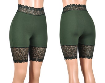 445f3b97e6 Dark Olive Green High-Waisted Stretch Lace Shorts XS S M L XL 2XL 3XL plus  size bike shorts cotton spandex safety short undershorts