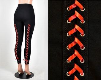 93c533415889fd SAMPLE SALE: Size XS Lace-Up Back Leggings red corset lacing metal grommet  eyelet pants lace goth gothic cotton