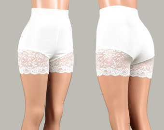 066b1cd3be High-Waisted Ivory Off-White Lace Leg Shorts XS S M L XL 2XL 3XL stretch plus  size bike shorts cotton spandex anti chafe undershort shorties