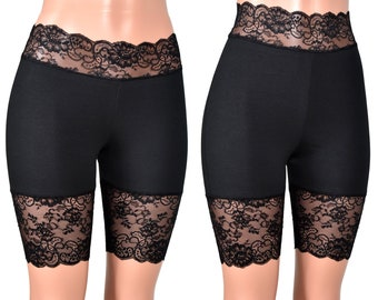 26f1de066 High-Waisted or Low-Waisted Black Stretch Lace Shorts XS S M L XL 2XL 3XL  plus size bike shorts goth cotton spandex undershort anti chafe