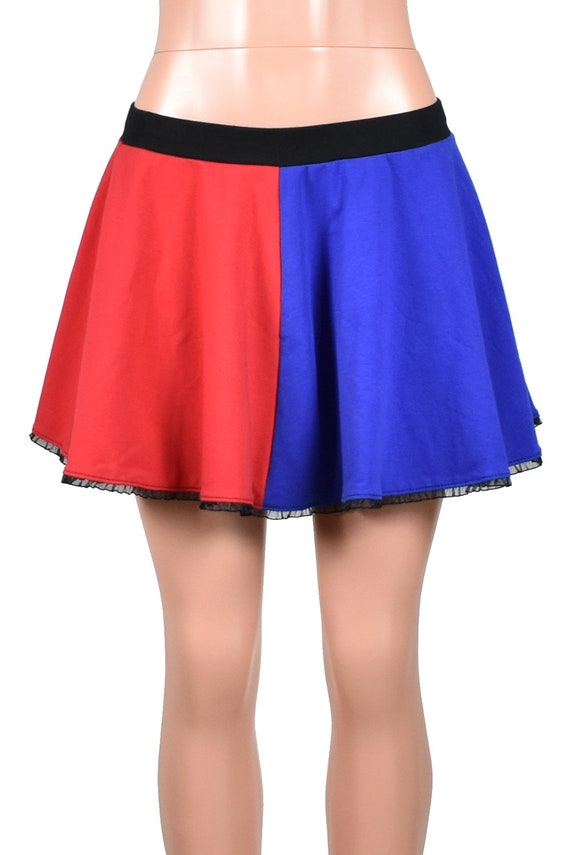 4e1f7c7d03f Red and Blue Cotton Harley Quinn Circle Skirt suicide squad