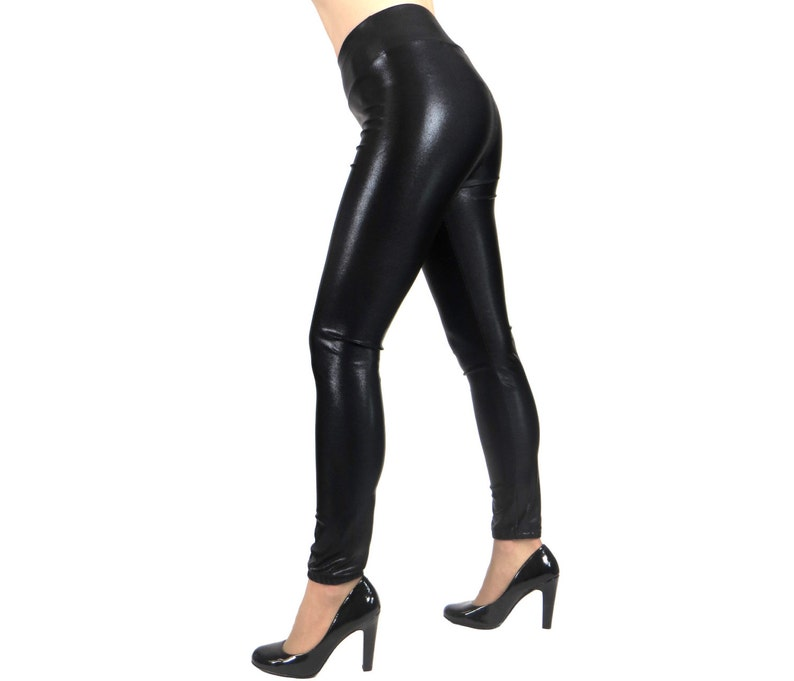 c3f29d6d1f4 SAMPLE SALE  Size XL Shiny Black Metallic Leggings plus size
