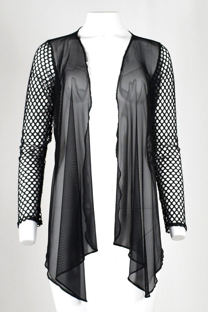 b0d3226f9f0 Mesh and Fishnet Drape Front Sweater S M L XL 2XL plus size