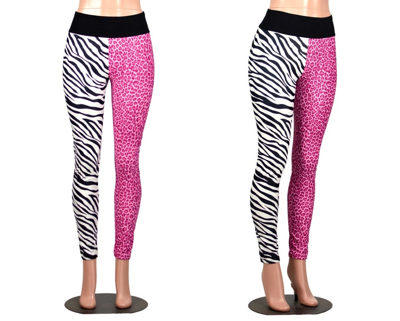 8a993a62144a SAMPLE SALE: Size Medium Pink Leopard and Zebra Split Leggings | Etsy