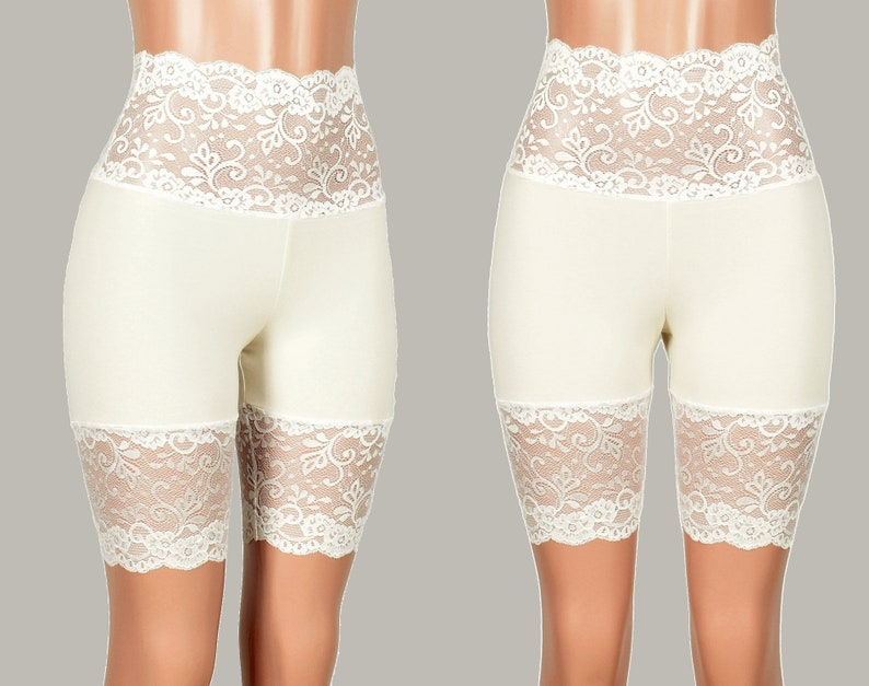 e10560e9d7 Wide Waistband Ivory Off White Stretch Lace Shorts XS S M L XL
