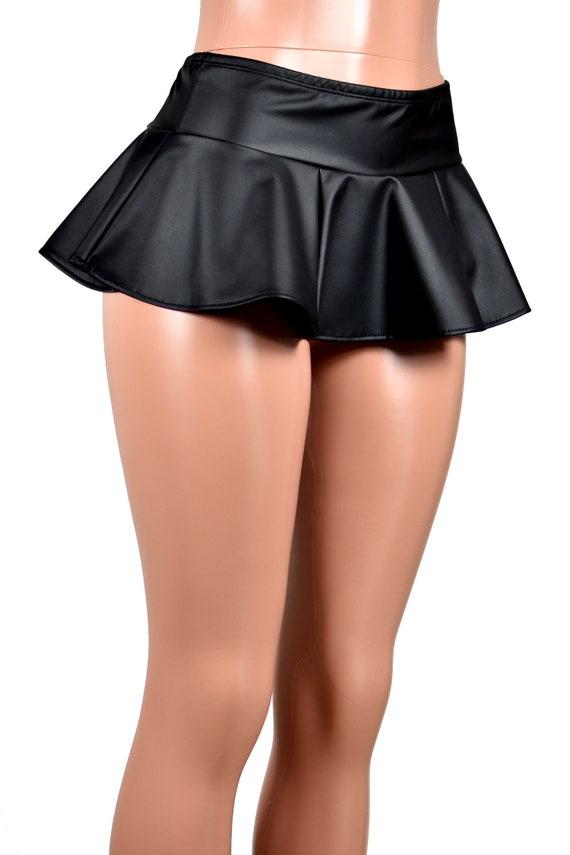 Black Faux Leather Micro Mini Skirt XS S M L xl 2xl 3xl plus size matte pleather stretch circle flared elastic waist goth gothic short