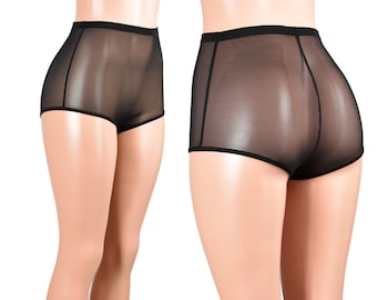 High-Waisted Black Mesh Booty Shorts XS S M L XL 2XL 3XL plus size sheer see through stretch hot pants short underwear lingerie