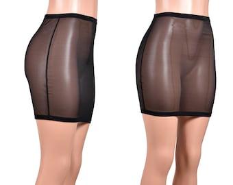 High-Waisted Black Mesh Skirt mini length or knee length XS S M L XL 2XL 3xl plus size sheer see through spandex short pencil skirt lingerie