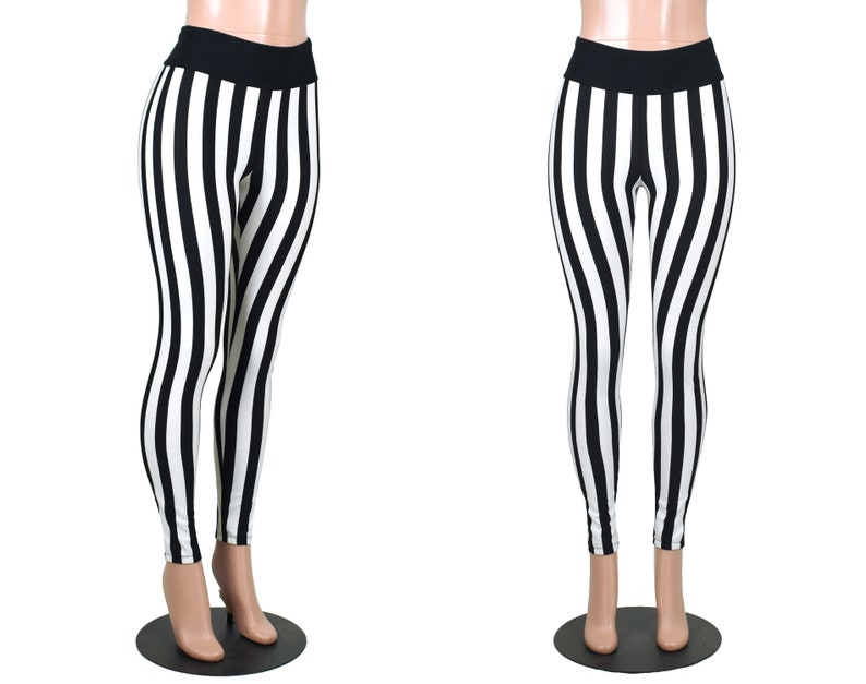 4ac565e2b Full Length Black and White Vertical Stripe Leggings XS S M L | Etsy