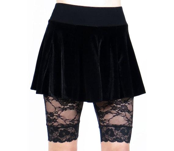 83b4bd06dfc Black Stretch Velvet Circle Skirt XS S M L XL 2XL 3xl plus