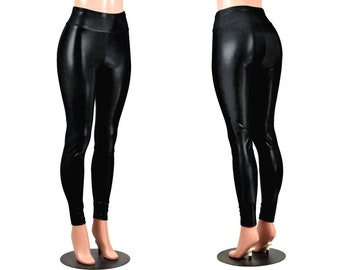 Shiny Black Metallic Leggings XS S M L XL 2xl 3xl plus size punk goth pants high-waist long inseam mystique spandex vinyl look wet look