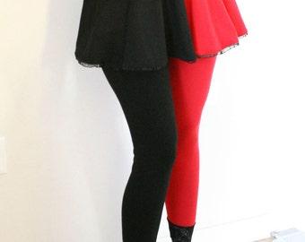 Cotton Harley Quinn Circle Skirt Red and Black cosplay plus size mini flared elastic waistband ruffled hem XS S M L XL 2XL 3XL