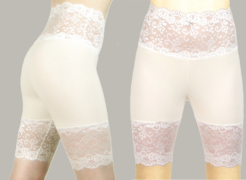 f4922a1f74e796 Wide Waistband Ivory Off White Stretch Lace Shorts XS S M L XL | Etsy