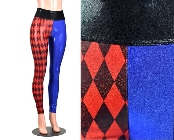 98712954a9 Metallic Diamond Print Red and Blue Harley Quinn Leggings XS S