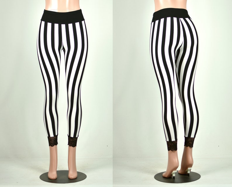c8d23e537 Black and White Vertical Stripe Leggings XS S M L XL 2xl 3xl | Etsy