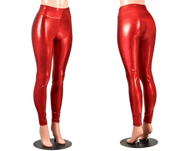 9284a1b24c40b Shiny Red Metallic Leggings XS S M L XL 2xl 3xl plus size punk | Etsy