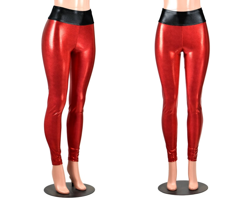fdd9510a963b8 Shiny Red Metallic Leggings Black Waistband XS S M L XL 2xl | Etsy