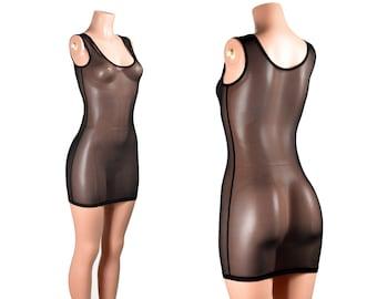 Black Mesh Bodycon Mini Dress XS S M L 0X XL 2XL 3XL plus size lingerie swimsuit cover-up sleeveless tank top stretch sheer see-through goth