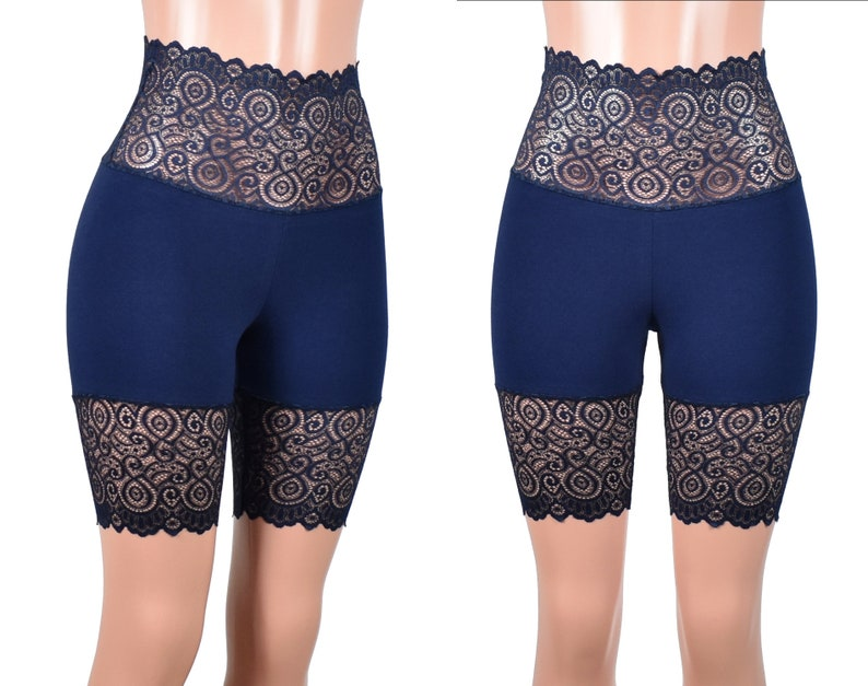 9af528fb1d93b7 Navy Blue Wide Waistband High-Waisted Stretch Lace Shorts plus | Etsy
