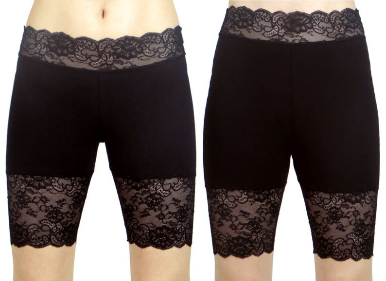 c8879783fc168 Black Stretch Lace Shorts 8.5 inseam XS S M L XL 2XL