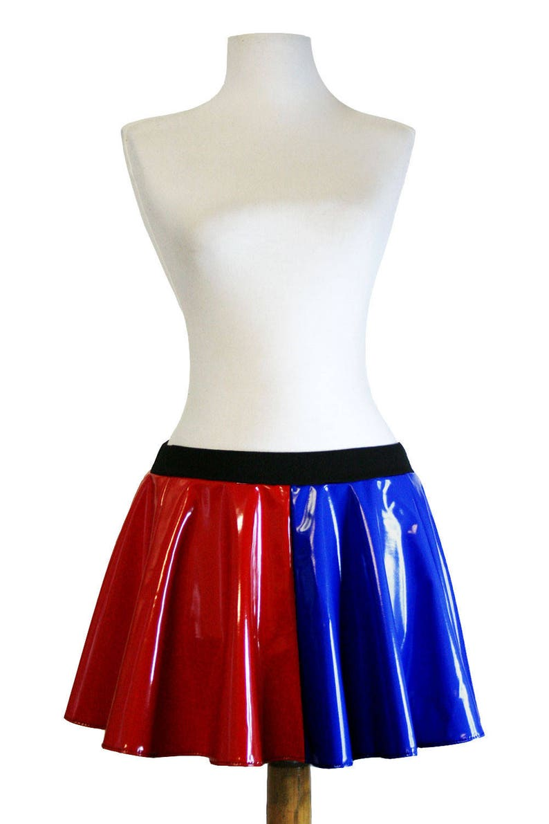 """Red Blue Metallic Harley Quinn Flared Skirt 20/"""" length plus size suicide squad"""