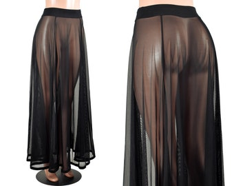 """Sheer Black Mesh Maxi Skirt size XS S M L XL 2XL 3xl plus size lingerie flared stretch fabric 40"""" long flowing gothic skirt see through sexy"""