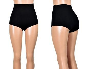 High-Waisted Black Cotton Spandex Booty Shorts XS S M L XL 2XL 3XL plus size stretch hot pants short high rise underwear undies matte