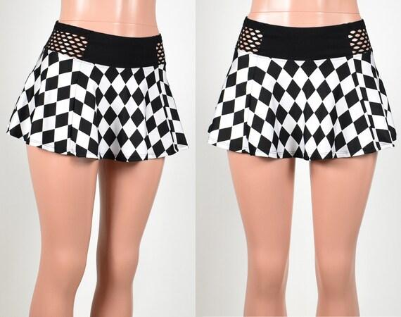 c03987bc235 Black and White Diamond Skirt with Fishnet Waistband 3 LENGTH
