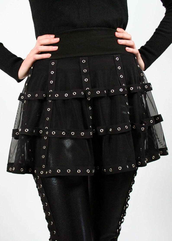 54eb279ec29 Black Mesh and Grommet Cage Skirt XS S M L XL 2XL 3xl plus