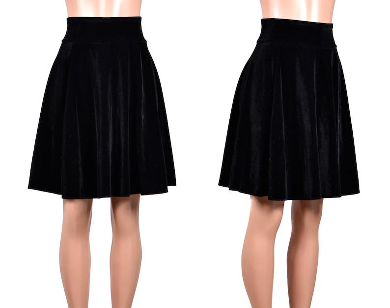 bdf6e2b11aa Black Velvet Flared Skater Skirt (22