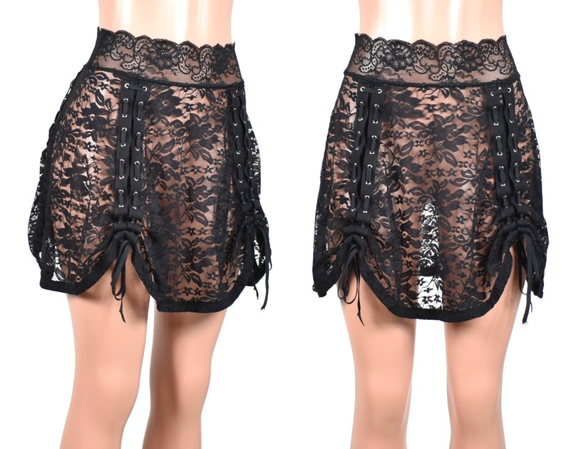352a76404e0 Black Lace Ruched Lace-Up Skirt 17 Length size XS S M