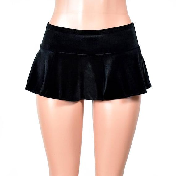 Black Velvet Micro Mini Skirt XS S M L xl 2xl 3xl stretch circle flared plus size elastic waist goth gothic short spandex