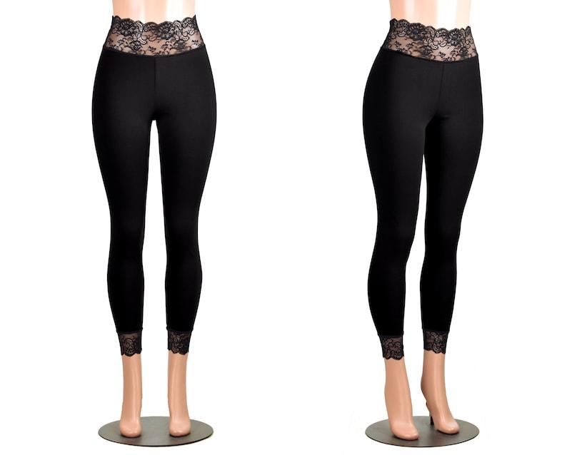 045492377a5c37 Black Cotton Spandex Lace-Waist Leggings XS S M L XL 2XL 3XL   Etsy