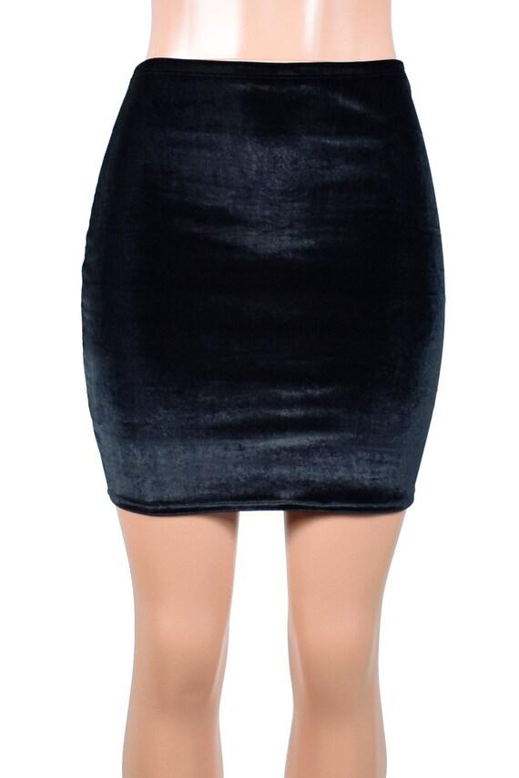 d60b797d611 High-Waisted Black Stretch Velvet Mini Skirt size XS S M L XL
