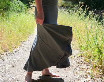 Heather Grey Boho Maxi Asymmetrical Mermaid Tizzy Lizzy Skirt