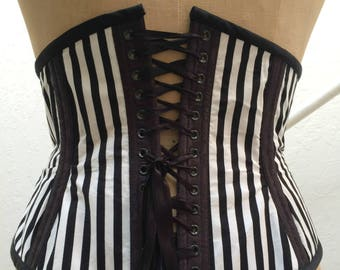 Black And White Striped Waist Cincher Extra Large