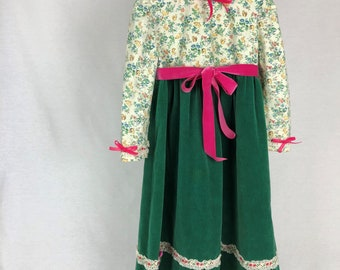 Vintage Green Cotton Velveteen Child's Holiday Dress Size 4 Years