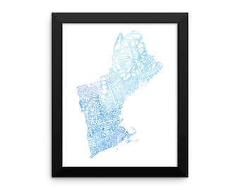 New England watercolor typography map art FRAMED print state poster wedding engagement graduation gift anniversary wall art decor