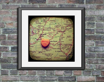 Map art unframed print marry me lake placid new york candy heart custom engagement wedding anniversary gift wall decor