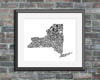 New York typography map art unframed print customizable personalized custom state poster wall decor engagement wedding housewarming gift