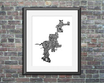 Tampa typography map art UNFRAMED print customizable personalized state poster custom wall decor engagement wedding housewarming gift