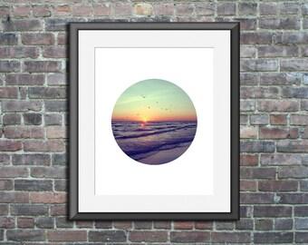 Unframed Circle Print Circle Photo sunset art siesta key sunset photography circle artwork beach artwork circle wall print beach house decor