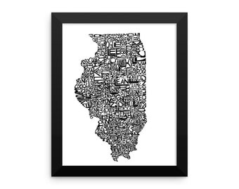 Illinois typography map art FRAMED print customizable state poster wedding engagement graduation gift anniversary personalized wall decor
