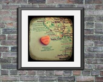 Map art print marry me Capitola California candy heart unframed photo custom engagement wedding anniversary gift wall decor