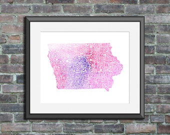 Iowa watercolor typography map art unframed print state poster wedding engagement graduation gift anniversary wall art decor