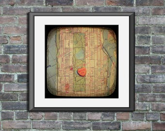 Map art unframed print marry me Central Park New York City Manhattan candy heart custom engagement wedding anniversary gift wall decor