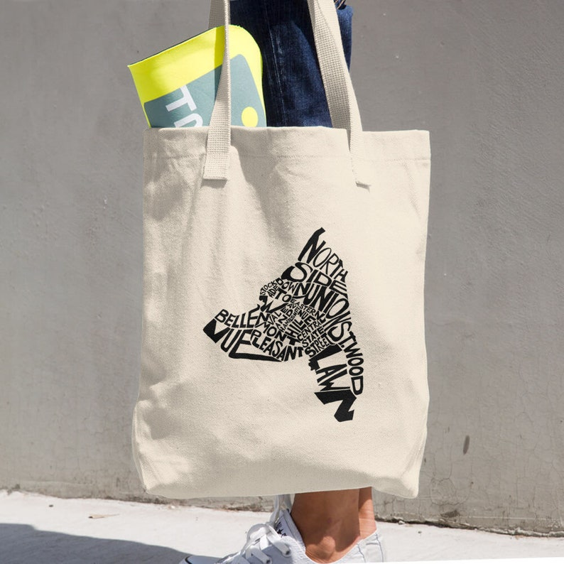 Schenectady typographic map 100/% cotton tote bag eco friendly reusable shopping grocery bag stocking stuffer housewarming