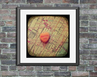 Map art print Marry Me Grand Central Station New York City Manhattan candy heart custom engagement wedding anniversary gift wall decor