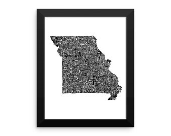 Missouri typography map art FRAMED print customizable personalized state poster custom wall decor engagement wedding housewarming gift
